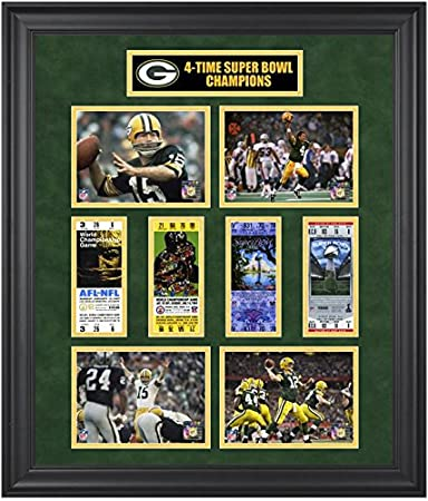 Amazon.com: Green Bay Packers Framed Super Bowl Ticket Collage Third ...