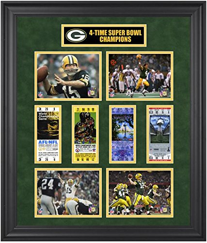 Green Bay Packers Framed Super Bowl Ticket Collage Third Edition - NFL Ticket Plaques and Collages