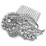 USABride Stunning Bridal Comb Antique Silver-Tone Rhinestone Crystal Hair Accessory 2229