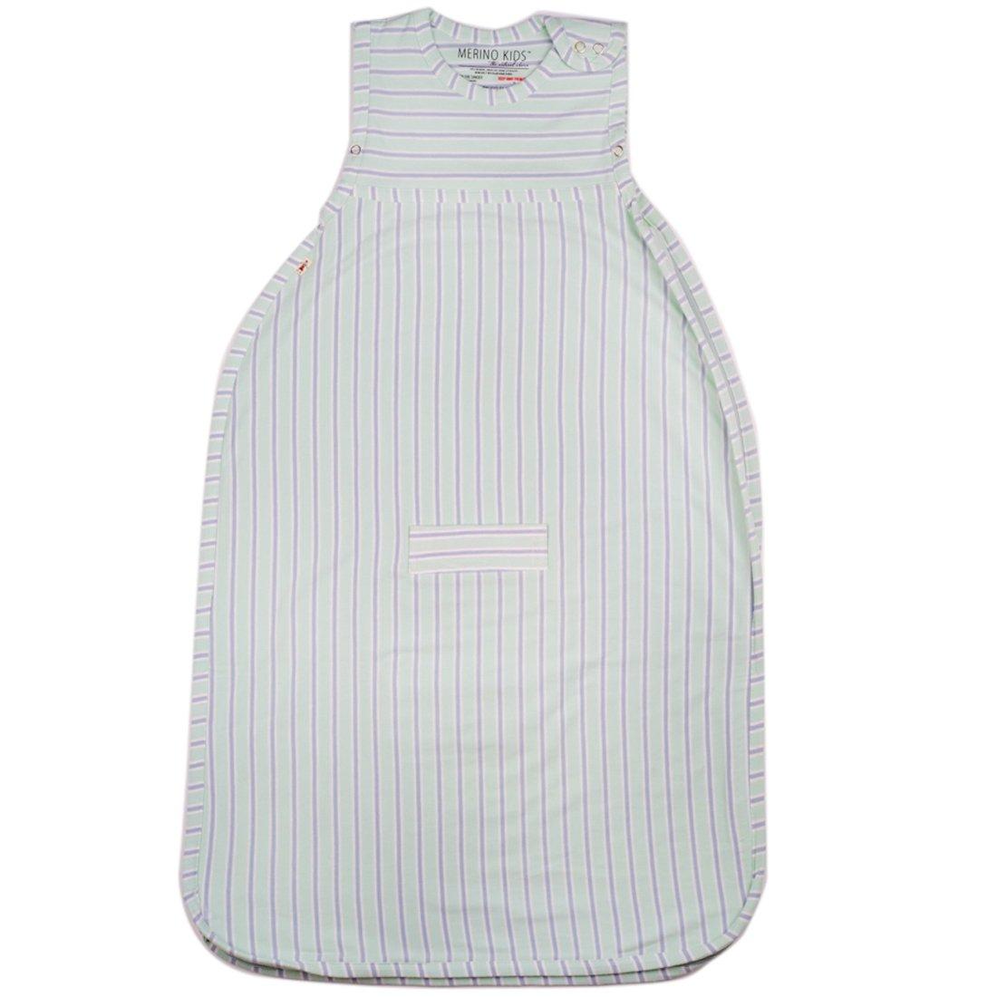 Merino Kids Winter-Weight Baby Sleep Bag For Toddlers 2-4 Years, Light Green/Light Grey Stripe