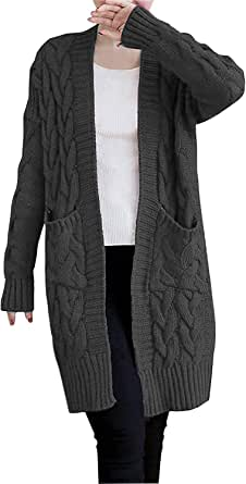 NUTEXROL Women's Open Front Long Sleeve Knit Think Cardigan Chunky Sweater Oversized Coat