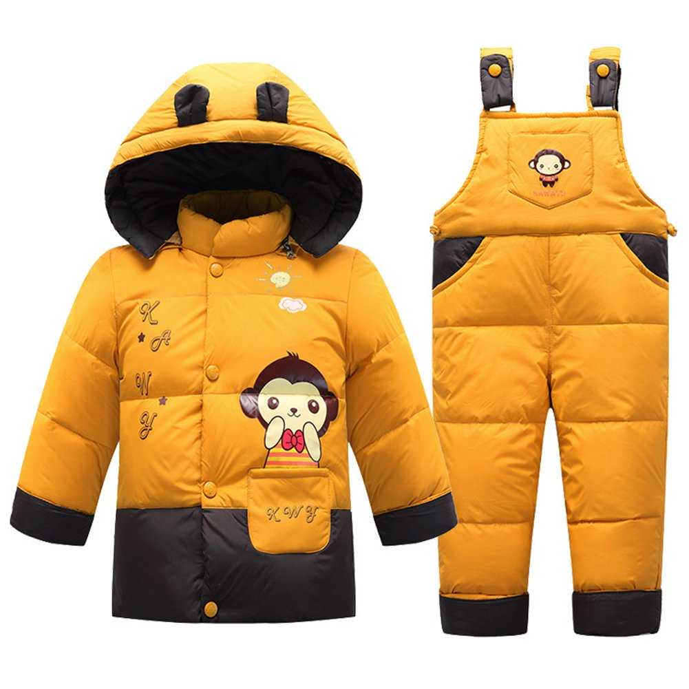 Boys' Girls' Ultralight Monkey Pattern Snowsuit Winter Puffer Jacket and Overall Two-piece Set (80cm, Yellow)