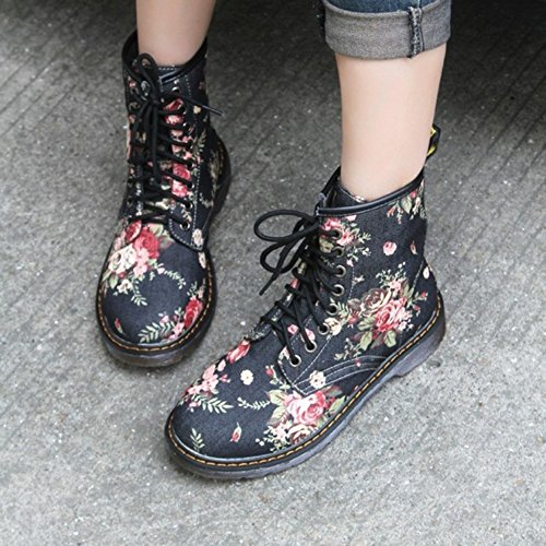 Women Boots Martin Retro Boots - High Combat Patrol Army Tactical Worker Boots Ankle Outdoor Hiking Shoes Highdas Black NuIQaqRy