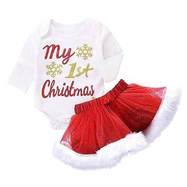 29d123a9 Amazon.com: 2pcs My 1st Christmas Party Toddler Infant Baby Girls Xmas  Letter Romper Warm Plush Tutu Skirt Outfits Set Santa Gift: Clothing