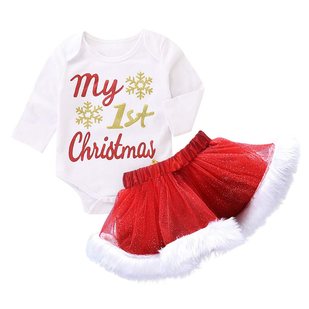 Vovotrade ❣ Newborn Baby Girls Il Mio Primo Natale Pagliaccetto Outfit Set Baby Long Sleeve Infantile Lettera di Natale Hot Stamping Lace + Mesh Skirt Tutu Due Pezzi Set
