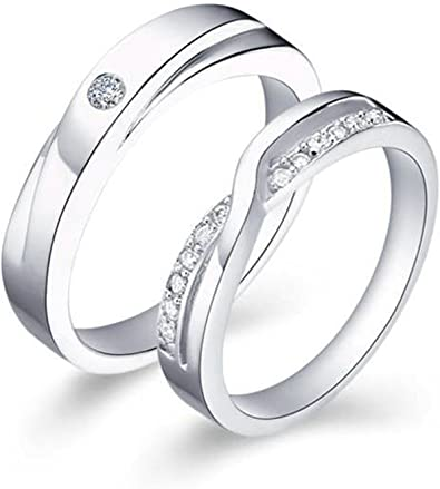 Bishilin Silver Plated Cubic Zirconia Halo Womens Wedding Band Infinity Set Of 2 Size 10