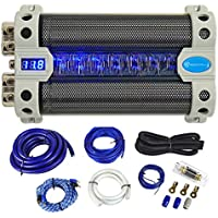 Package: Rockville RFC50F 50 Farad Capacitor With Blue Backlit Voltage Display and Built In Distribution Block + Rockville RWK01 0 Gauge Complete Wire Kit With RCA Cables
