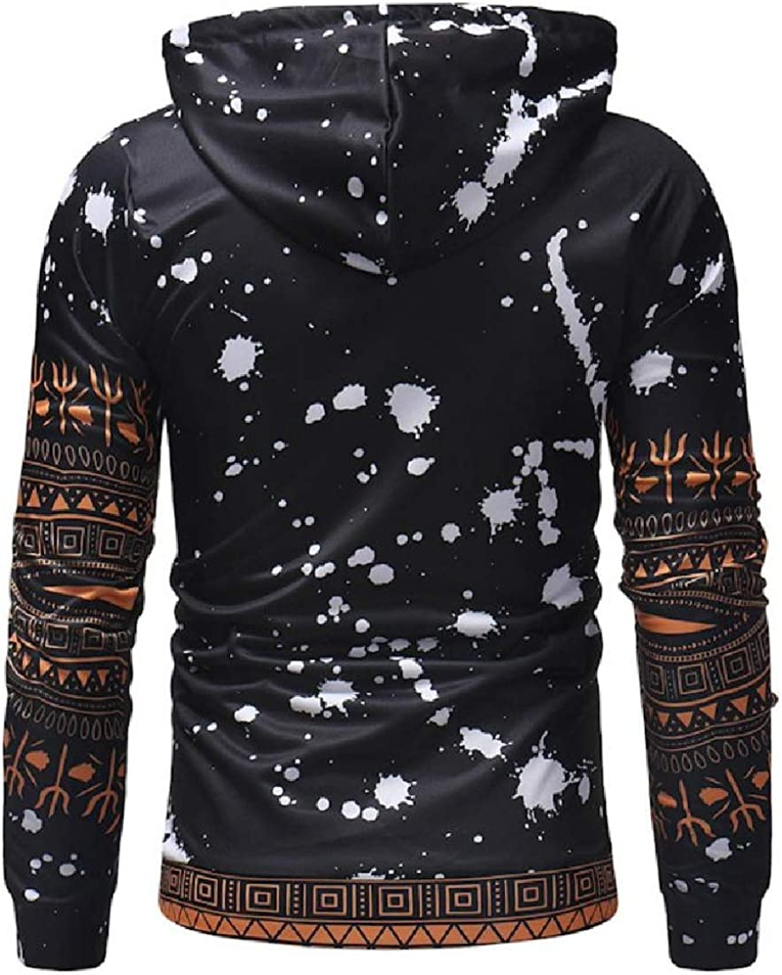 VITryst-Men African Print Loose-Fit Tunic Sweatshirts with Strings