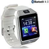 Smart Watch Bluetooth Touch Screen GTBonad Wearable Multi-Function Wristwatch for Android Phone Support SIM/TF Card with Camera(White)