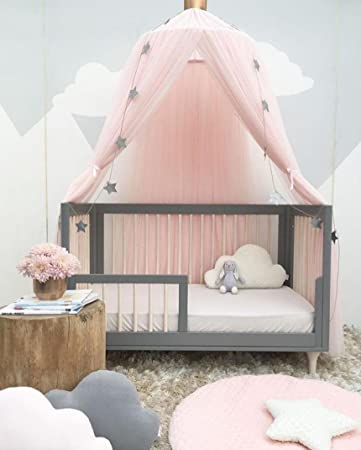 Quartly Baby Bed Curtain Round Crib Tent HungDome Bed Canopy Netting  Princess Mosquito Net (E