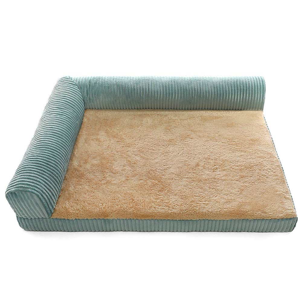 M(80x63x18cm) Cat and Dog Bed Pet Bed,Medium and Large Dogs Pet Kennel, Luxury Corduroy Pet Kennel, Cyan (Size   M(80x63x18cm))