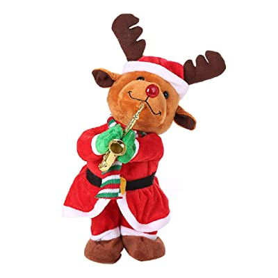Afazfa Singing and Dancing Funny Santa Claus Elk Snowman Musical Christmas Toy (C): Clothing