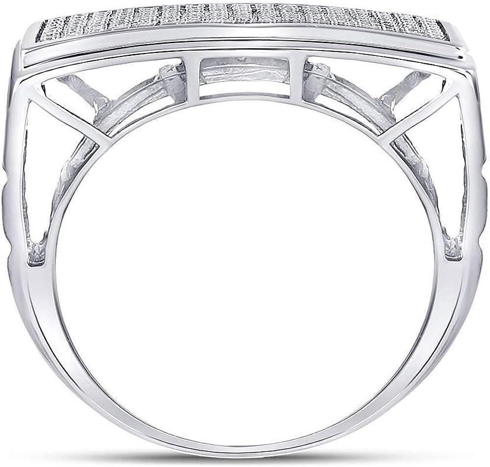 Sterling Silver Black White Diamond Heart Love Ring 0.15 Cttw