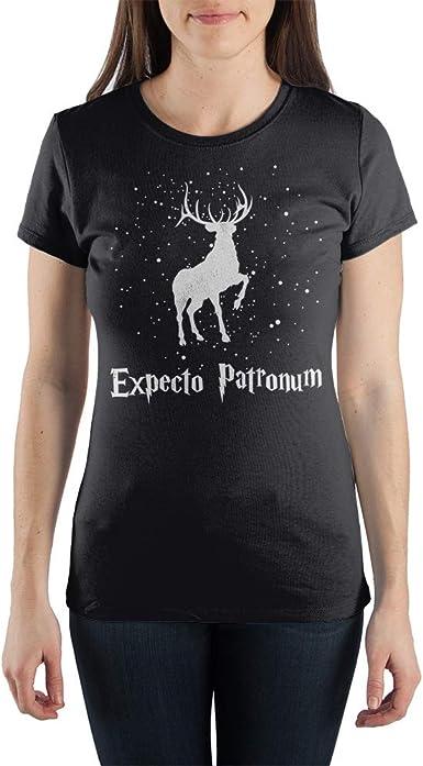 EXPECTO PATRONUM DEER T SHIRT TOP HARRY POTTER GIFT WIZARD DEATHLY HALLOWS BLACK