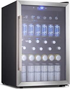 BOSSIN Beverage Refrigerator and Cooler, 120 Can Capacity with Smoky Gray Glass Door for Soda Beer or Wine,Compressor Touch Panel Digital Temperature Display for Home, stainless steel(4.5 cu.ft)