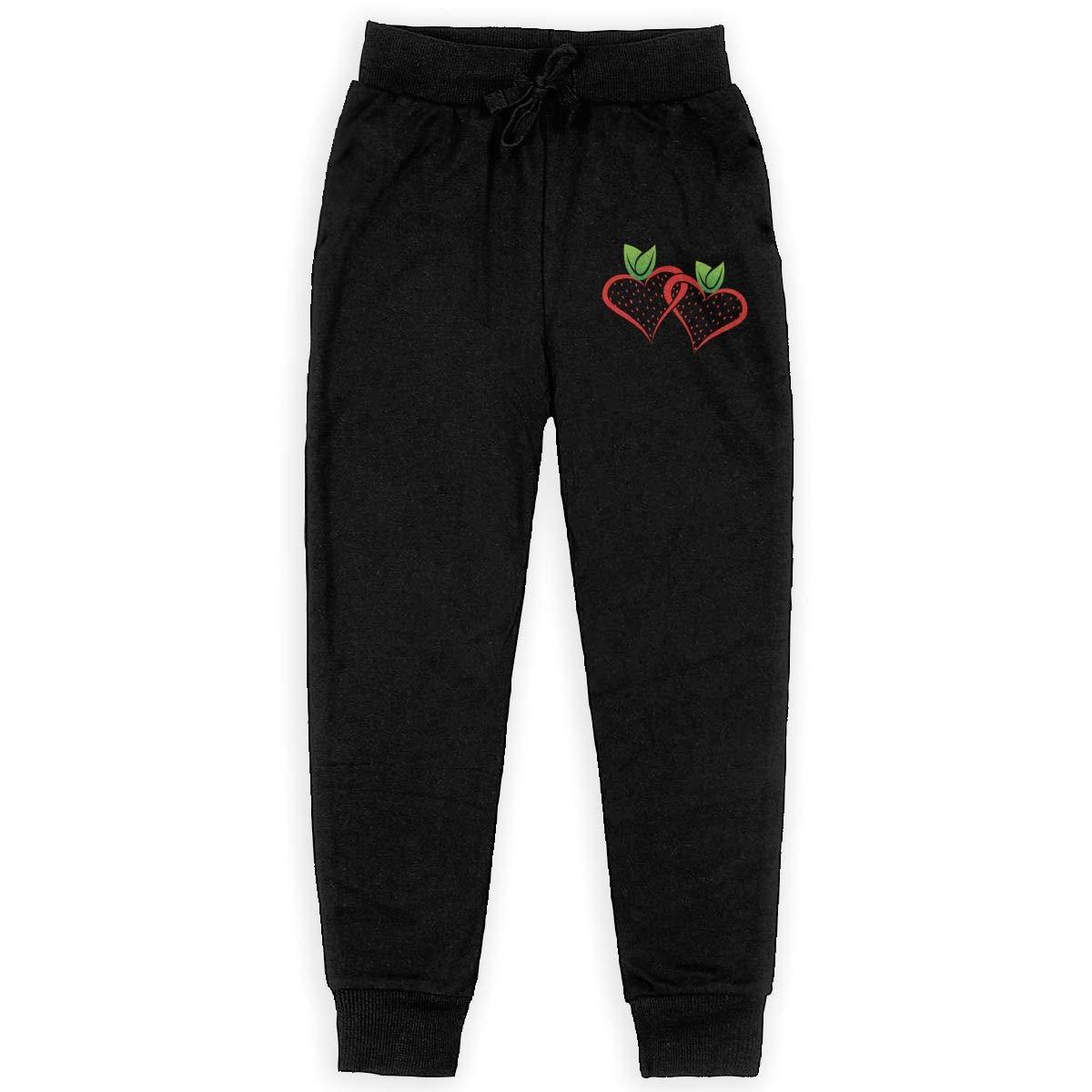 Dunpaiaa Strawberry Logo Boys Sweatpants,Joggers Sport Training Pants Trousers Black