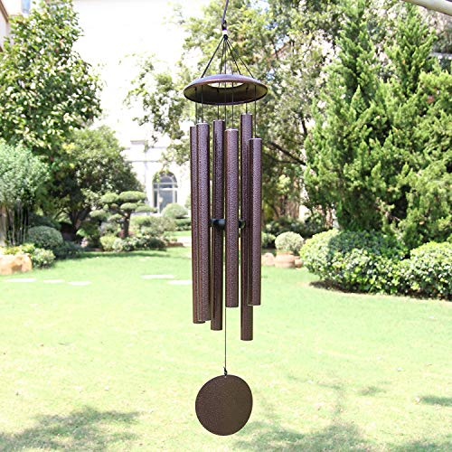 (Large Wind Chimes Outdoor Deep Tone,45 Inch Sympahty Wind Chimes Amazing Grace with 6 Big Tubes Tuned BassTone,Memorial Wind Chimes Outdoor for Mom Dad, (A Free Card),Copper Vein)