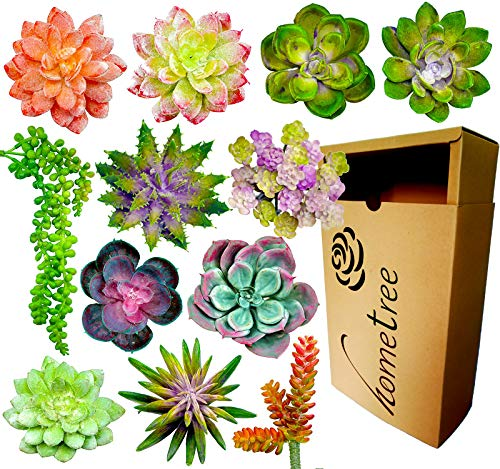 Fake Succulent Plants Realistic- 12 Artificial Succulent Plants Unpotted- Faux Succulents Picks - Hanging Floral Succulent Cuttings Arrangement- Outdoor & Indoor- Wall Decor -Easy DIY With Stems