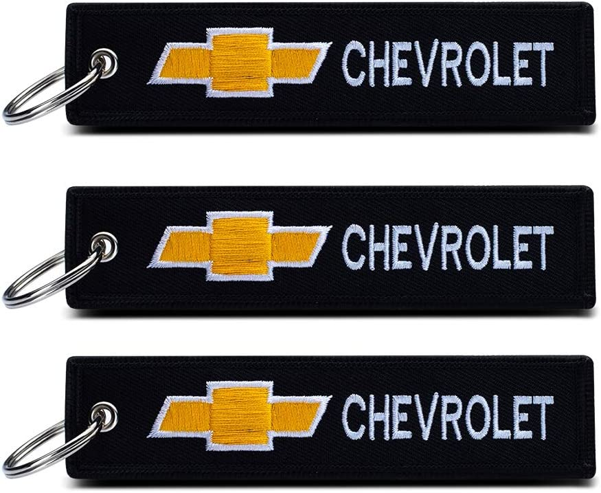 JIYUE 2Pack Embroidered Tag Keychain Key Ring for Chevrolet Car Motorcycles Bike Biker Key Chain Bag Phone ChainAccessories Gifts/…/…