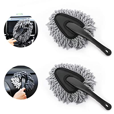 MoKo Car Duster, 2 Pack Super Soft Microfiber Car Dash Duster Detail Brush Set Interior Exterior Cleaning Dusting and Washing Tool for Car Motorcycle Automotive Dashboard Air Vents - Grey: Automotive