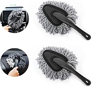 MoKo Car Duster, 2 Pack Super Soft Microfiber Car Dash Duster Detail Brush Set Interior Exterior Cleaning Dusting and Washing Tool for Car Motorcycle Automotive Dashboard Air Vents - Grey
