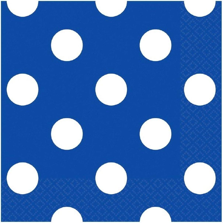 Amscan Disposable, Dots Beverage Napkins, Bright Royal Blue Party Supplies, 5