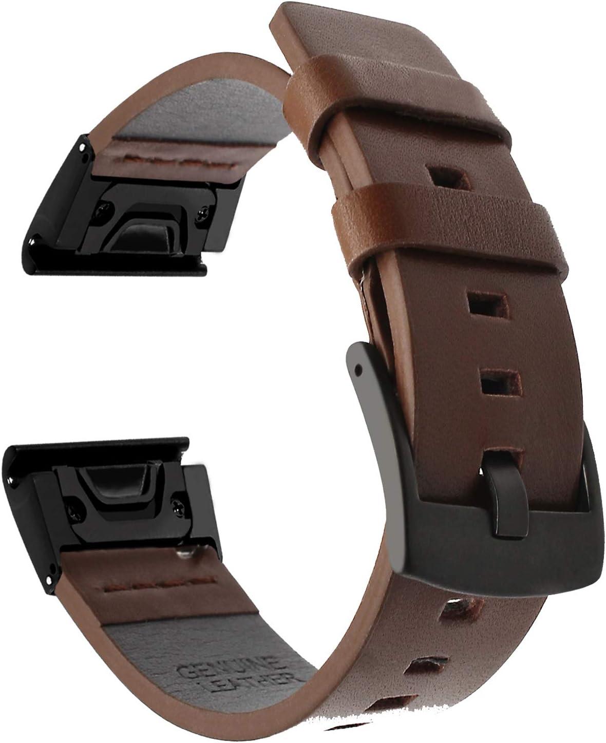 TRUMiRR Fenix 5 Correa de Reloj, 22mm Quick Release Easy Fit Banda de Reloj Square Tail Correa de Cuero Genuino Acero Broche Pulsera para Garmin Fenix 5 / Forerunner 935 (FR935) / Approach S60