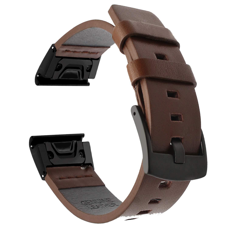 TRUMiRR Armband für Garmin Fenix 5, 22mm Quick Release Easy Fit Armband Square Tail Lederarmband Stahl Verschluss Uhrenarmband für Garmin Fenix 5 TRUMiRR Fenix 5 Armband