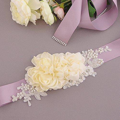 Voilet Da Cinghia Fusciacca Sposa Donne Vestito Nuziale Del Fiori Ghigliottina Perle Ulapan Delle Cintura Antico S172 xxZHB