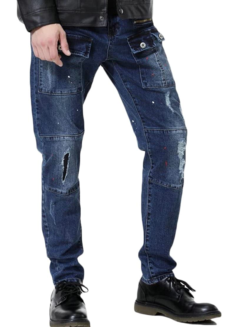 CYJ-shiba Mens Fashion Ripped Distressed Destroyed Straight Fit Zipper Jeans