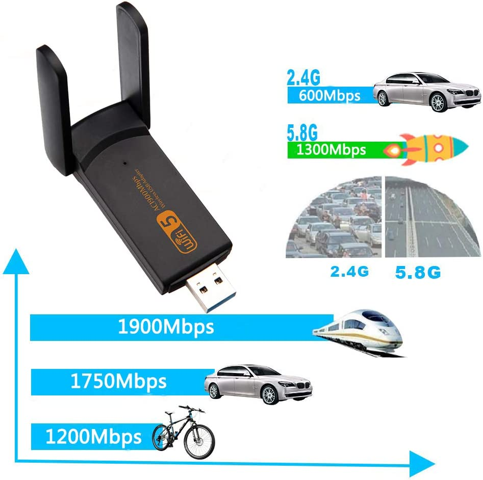1900mbps Dual Band 2.4G// 5G Wireless Adapter Mini Wireless Network Card WiFi Dongle for Laptop//Desktop//PC XVZ USB WiFi Adapter Support Windows10//8//8.1//7