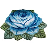 "YOUSA Blue Rose Shaped Area Rug 1 Rose Doormats Rustic Room Floor Mat 31.5""23.6"" Review"