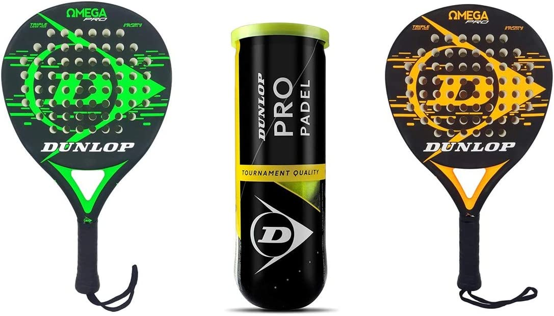 Dunlop Padel Schläger Set Omega Pro & 3 Dunlop Pro Padel Bälle ...