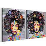 FREE CLOUD Crescent Art Abstract Pop Black Art African American Wall Art Afro Woman Painting on Canvas Print Wall Picture for Living Room Bedroom Wall Decor (Set Framed, 16 x 20 inch) For Sale