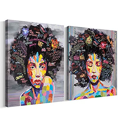 FREE CLOUD Crescent Art Abstract Pop Black Art African American Wall Art Afro Woman Painting on Canvas Print Wall Picture for Living Room Bedroom Wall Decor (Set Framed, 16 x 20 inch) - 【Professional Techniques】 This African American Black Art Sexy Women Canvas Painting for Living Room Wall Decor is originally designed by our young and creative artist named Ye. She always sketches her ideas on paper and finishes the work on computer. Her picture is then printed off on high quality 280g canvas while beautiful details painted by hand with acrylic. Our ultra HD printing technique brings her artwork to live while the delicate acrylic paint gives the picture 3D textures. 【Exquisite Craftsmanship 】 This Framed African American Black Art Home Decor Wall Painting on Canvas is gallery wrapped, framed and ready to be presented to your walls. It comes with pre-installed hooks for easy operations. The stretcher is made of licensed natural Fir wood and handcrafted by our skilled workers. 【Make a Statement】This Black Art African Women Painting Wall Art really makes a statement to your space. This is a perfect wall decoration piece for living room, bedroom, kitchen, dining room, hotel, cafe, bar etc.. It will definitely produce an unique accent you want, brighten up your space and impress your guests. This is the right wall art you have been looking for! Buy today! Quantity is limited! - wall-art, living-room-decor, living-room - 61lcUFx%2BMgL. SS400  -