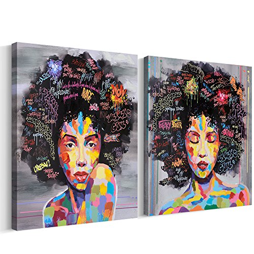 FREE CLOUD Crescent Art Abstract Pop Black Art African American Wall Art Afro Woman Painting on Canvas Print Wall Picture for Living Room Bedroom Wall Decor (Set Framed, 16 x 20 inch)