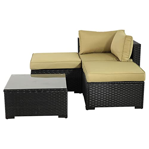 VALITA Patio PE Wicker Furniture Set 4 Pieces Outdoor Black Rattan Sectional Conversation Sofa Chair