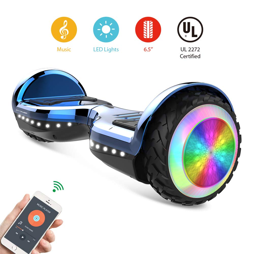 CITY CRUISER Hoverboard with Bluetooth Speaker, LED Light by UL 2272 Certified Best Gift for Kids Blue