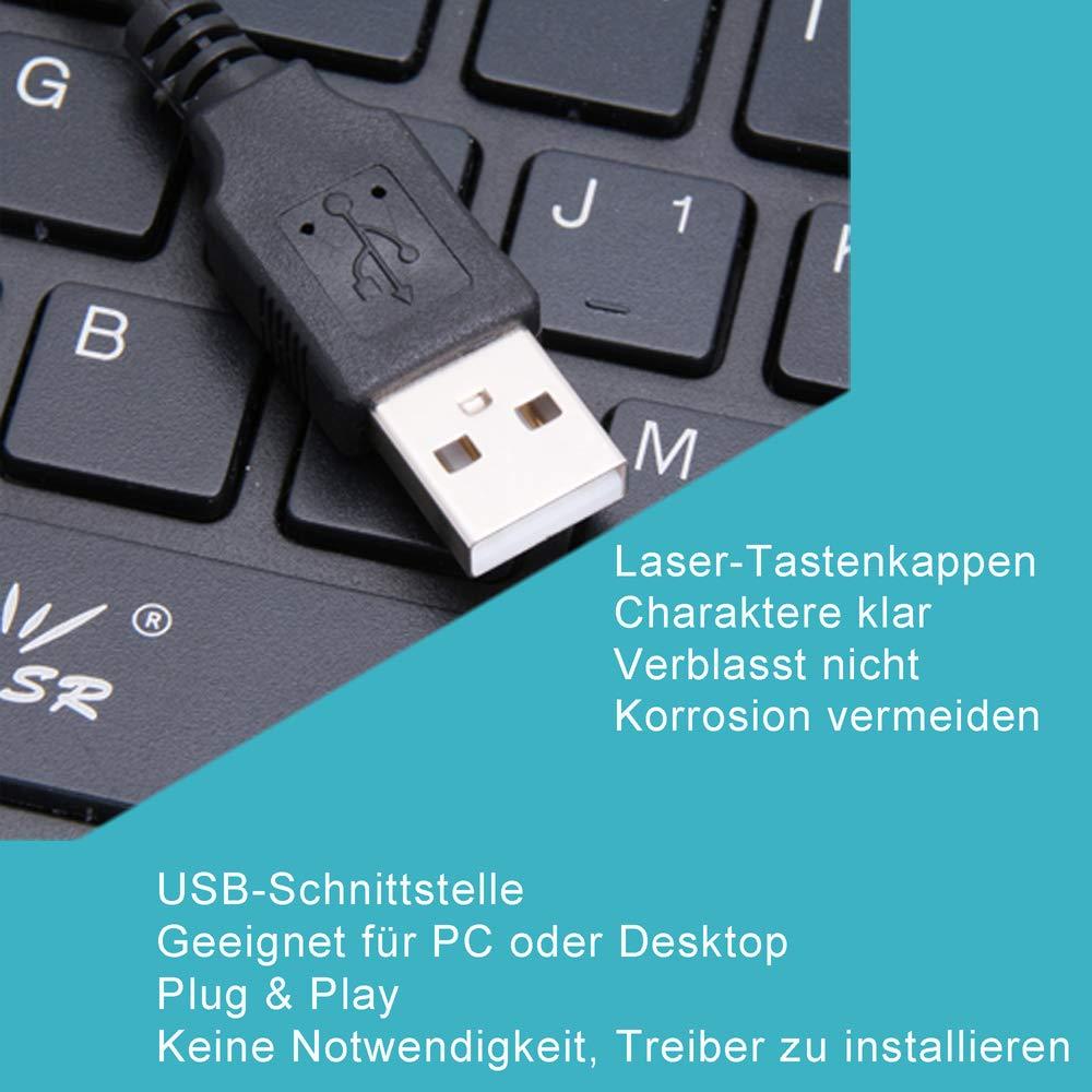 Teclado alemán Mini Ultra Slim Cable Delgado portátil 78 Teclas USB Multimedia pequeño PC Ordenador Portátil 360 Box MactabletPC: Amazon.es: Electrónica