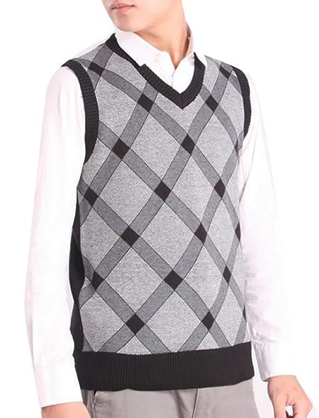 Cruiize Mens Slim V Neck Knitted Argyle Pattern Sweater Vest at ...