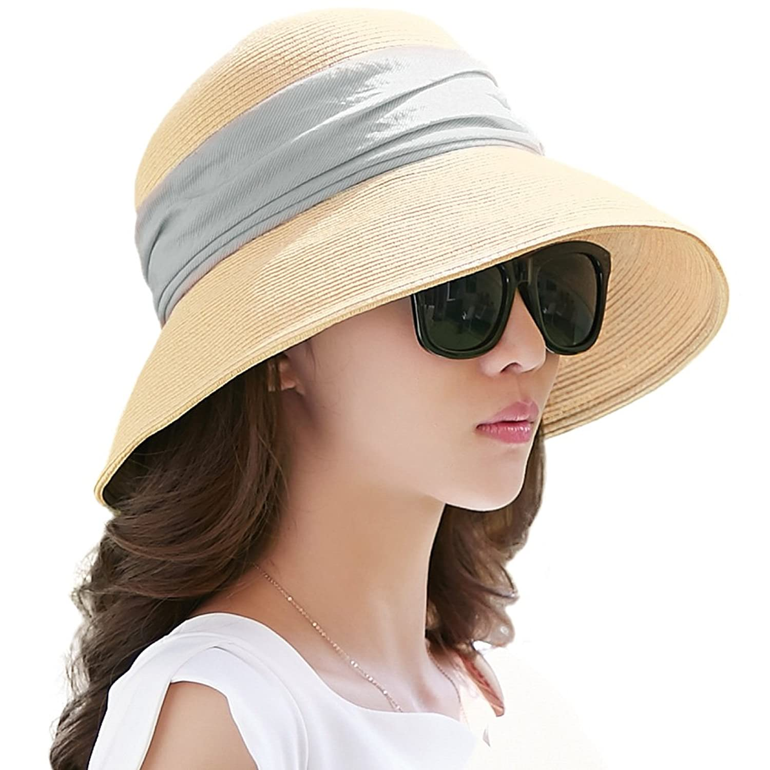 Details about Siggi Womens UPF 50+ Packable Summer Sun Straw Hat Wide Brim  Foldable Adjustable 05928f1bc1