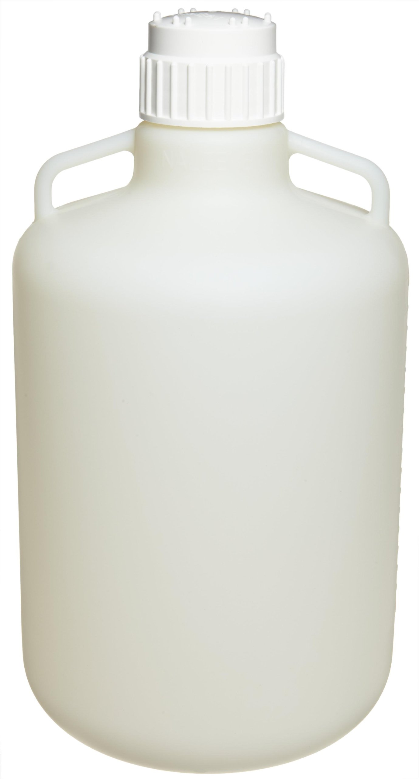 Nalgene 2097-0050 Fluorinated HDPE Carboy with Handle and Polypropylene Screw Closure, 20L Capacity