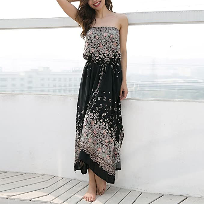 6a32353e23 Là Vestmon Boob Tube Bandeau Dress Summer Beach Dress Strapless Floral Maxi  Dress at Amazon Women's Clothing store:
