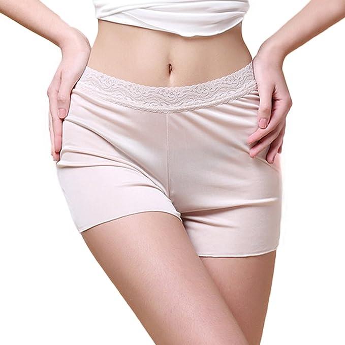 e5ff13fd92 Manka Vesa Women s 100% Mulberry Silk Double-Knit Under Panties Lace Waist Underwear  Boy