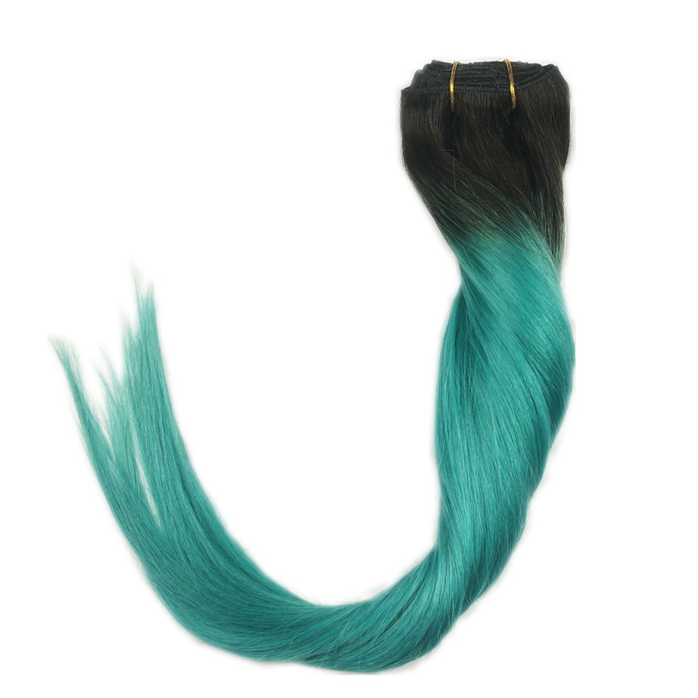 Amazon.com : Stella Reina Clip In Hair Extensions 7pcs/120g Teal ...
