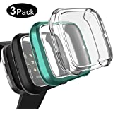 Kmasic Compatible with Fitbit Versa 2 Case Screen Protector(3-Pack), TPU Soft Accessory Protective Case Frame Cover Shell Fitbit Versa 2 Case (Transparent/Black/Green)