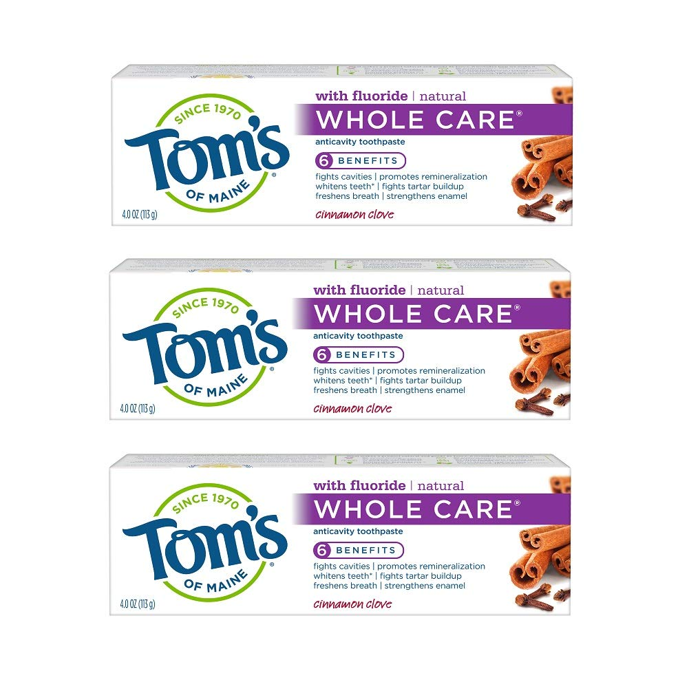 Tom's of Maine Whole Care Toothpaste, Toothpaste, Natural Toothpaste, Cinnamon Clove, 4.0 Ounce, 3-Pack