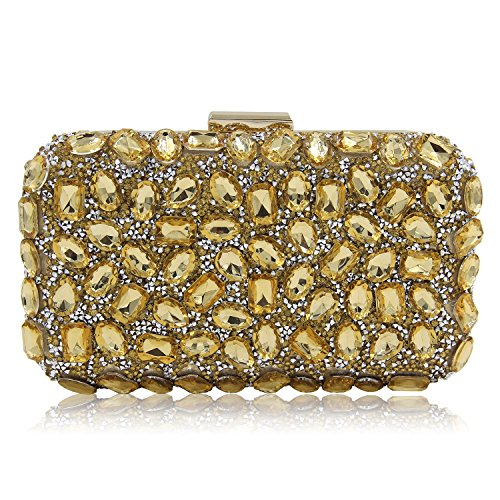 Milisente Women Clutch Bag Pure Beaded Evening Bag Diamond Party Clutches Purse - Beaded Gold Bag