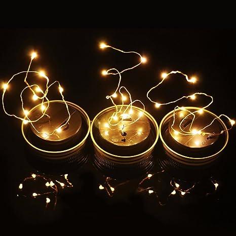 Imagen deSolar Tarro Mason Luces, 1 Piezas LED Impermeable Cristal Exterior Guirnalda Luces Oara Exterior, Decoración para el Hogar, Fiesta, Jardín, Boda - Blanco cálido, No Incluye Botella