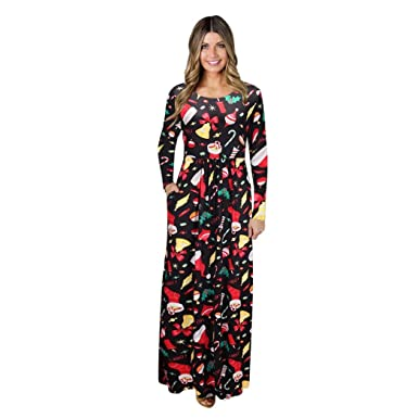 d0462ae0ca Women Christmas Dress friendG Print Long Sleeve Evening Party Long Maxi Dress  Christmas Trees Xmas Santa